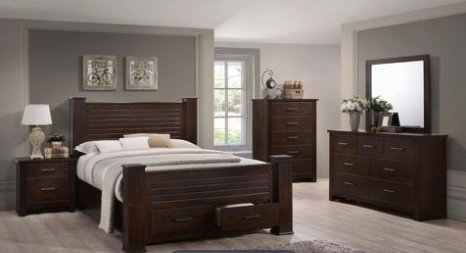 Espresso Platform Bed with 2 Drawer Storage Bedroom Collection
